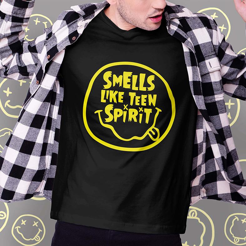 Camiseta Masculina Unissex Smells Like Teen Spirit Kurt Cobain Nirvana (Preta) - EV