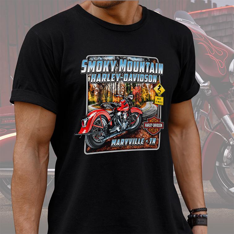 Camiseta Masculina Unissex Smoky Mountain Maryville TN: Harley Davidson Cycles (Preta) - EV