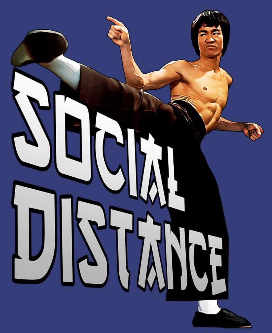 Camiseta Masculina Unissex Social Distance Bruce Lee (Preta) - EV