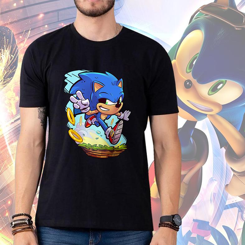 Camiseta Masculina Unissex Sonic Sega Jogo Video Game Animação Cartoon (Preta) - EV
