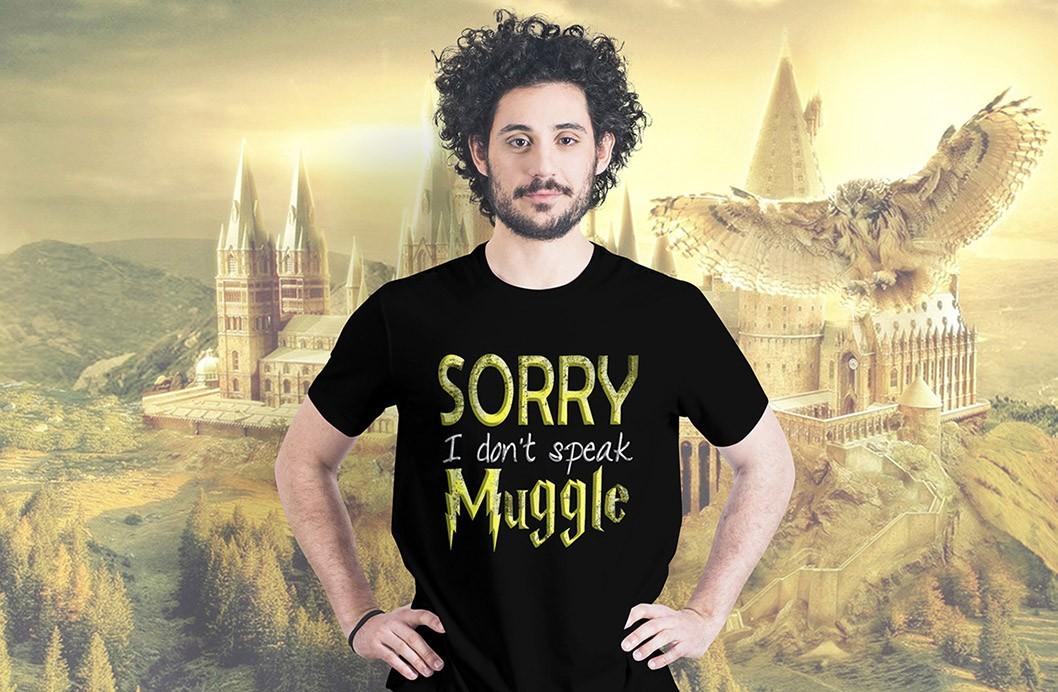 Camiseta Masculina Unissex Sorry i Don't Speak Muggle: Harry Potter (Preta) - EV