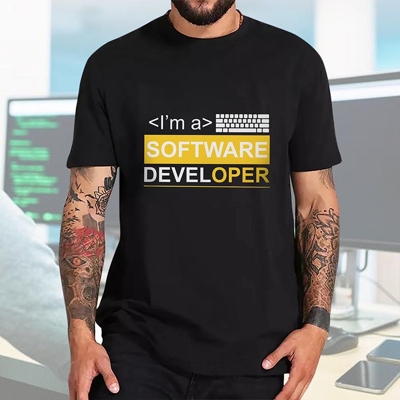 Camiseta Masculina Unissex Sou Um Desenvolvedor De Software I'm A Software Developer Dev (Preta) - EV