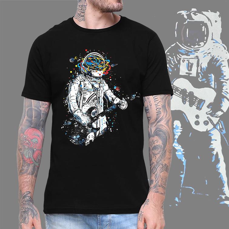 Camiseta Masculina Unissex Space Nasa Guitar Music Astronauts Colors Astronauta (Preta) - EV