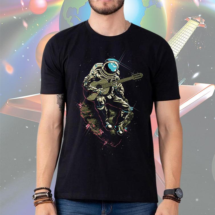 Camiseta Masculina Unissex Space Nasa Guitar Music Song Astronauts Astronauta (Preta) - EV