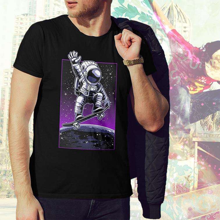 Camiseta Masculina Unissex Space Nasa Skate Moon Ollie Astronauts Astronauta (Preta) - EV
