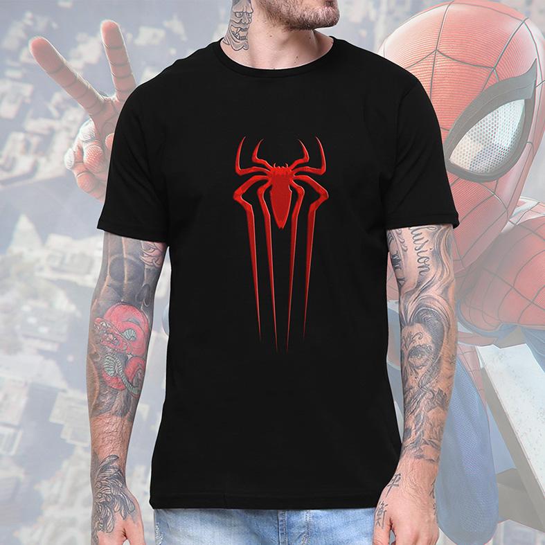 Camiseta Masculina Unissex Spider Man Logo Homem Aranha Marvel (Preta) - EV