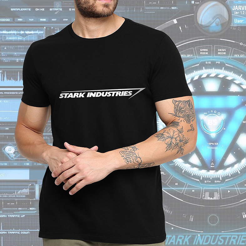 Camiseta Masculina Unissex Stark Industries Iron Man Tony Stark Indústrias Homem De Ferro Vingadores (Preta) - EV