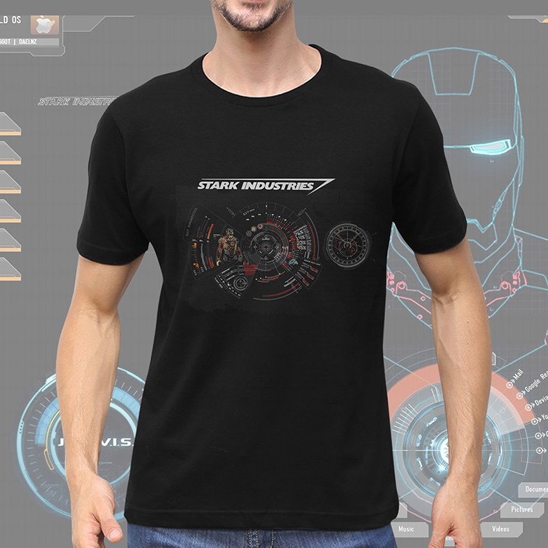 Camiseta Masculina Unissex Stark Industries Project Iron Man Tony Stark Indústrias Homem De Ferro (Preta) - EV
