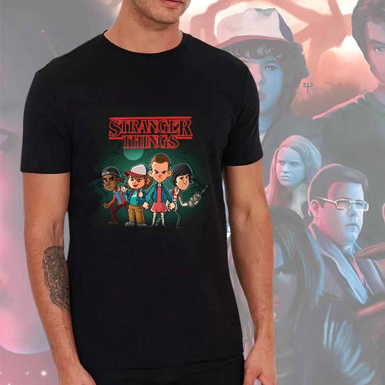 Camiseta Masculina Unissex Stranger Things Design Série (Preta) - EV