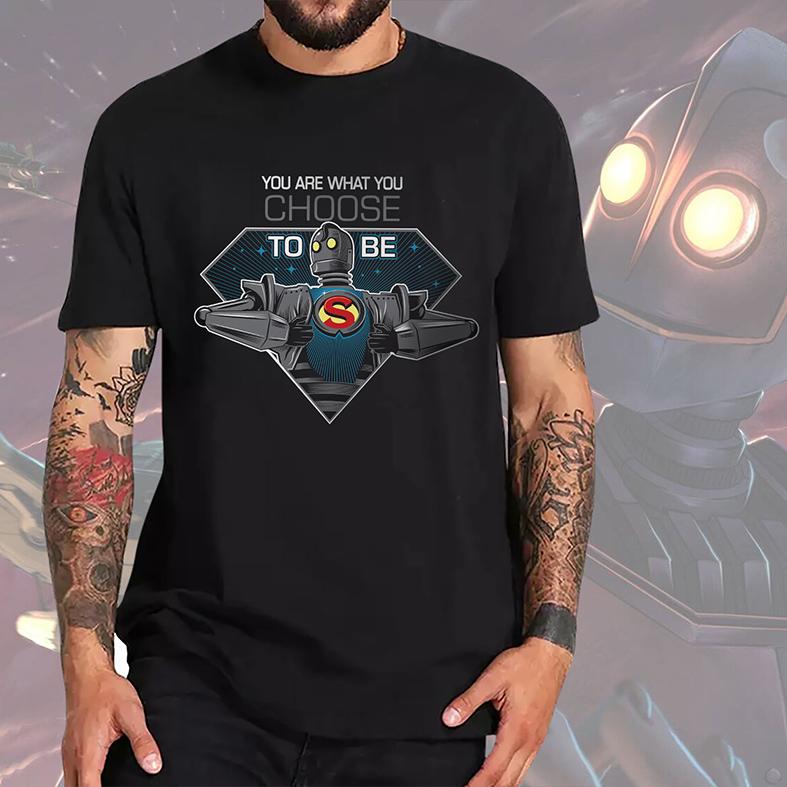 Camiseta Masculina Unissex Super Iron Giant You Are What You Choose To Be Super Gigante De Ferro (Preta) - EV