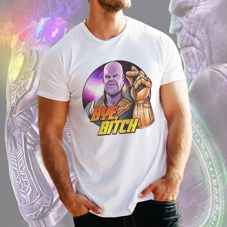 Camiseta Masculina Unissex Supervillain Thanos Bye Bitch Marvel Comics (Branca) - EV