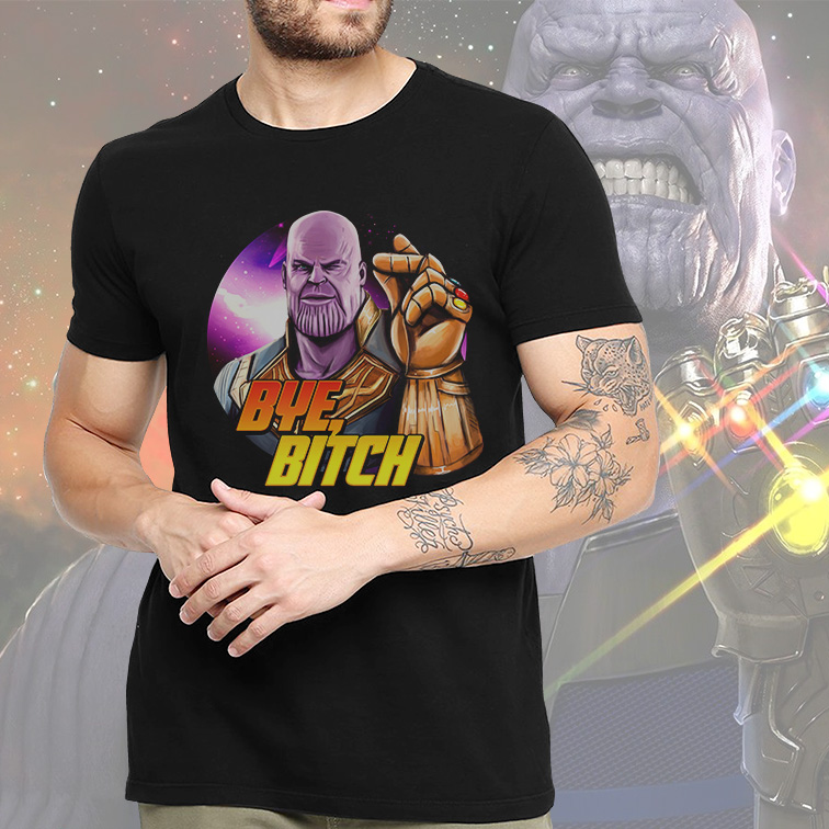 Camiseta Masculina Unissex Supervillain Thanos Bye Bitch Marvel Comics (Preta) - EV