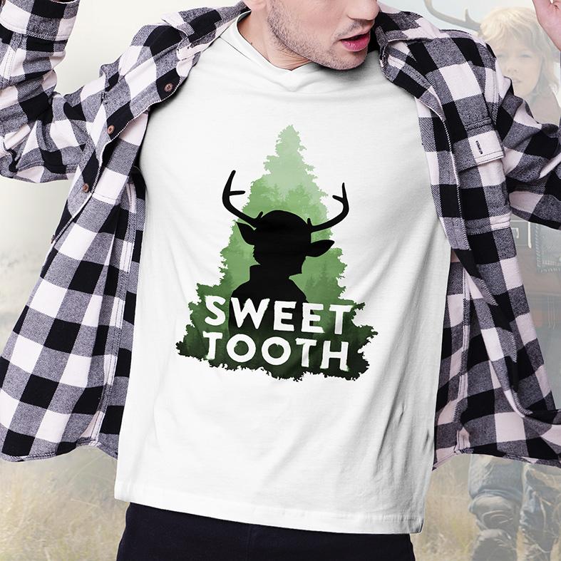 Camiseta Masculina Unissex Sweet Tooth Híbridos Netflix (Branca) - EV