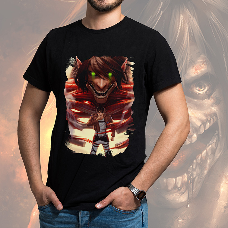 Camiseta Masculina Unissex The Colossal Titan Split The Wall Attack On Titan Anime (Preta) - EV