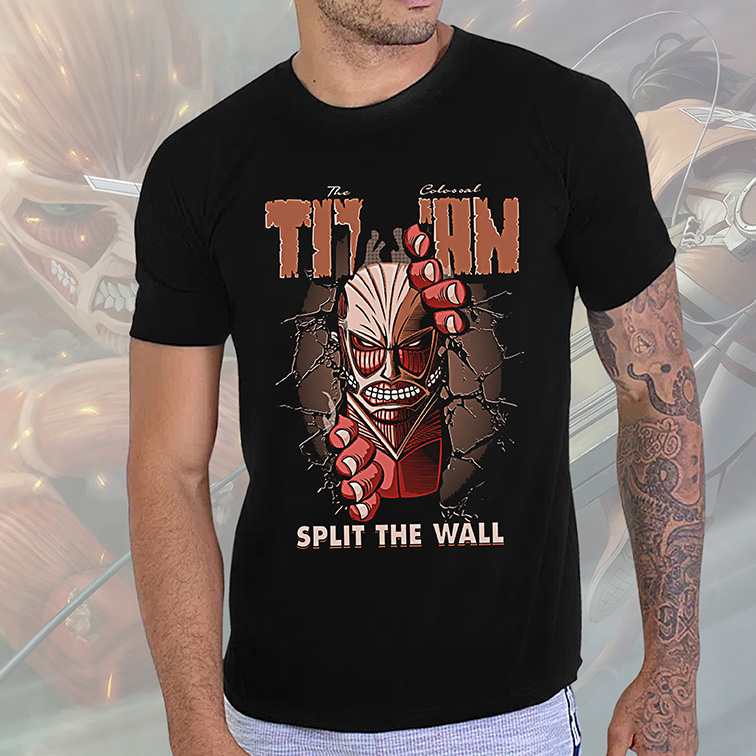 Camiseta Masculina Unissex The Colossal Titan Split The Wall Attack On Titan Anime (Preta) - EV