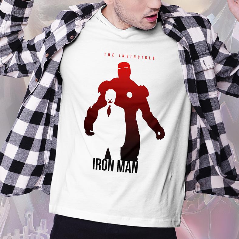 Camiseta Masculina Unissex The Invincible Iron Man Tony Stark Homem de Ferro Invencível Marvel Comics (Branca) - EV