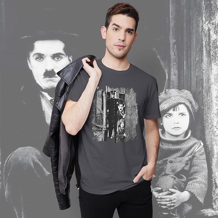 Camiseta Masculina Unissex The Kid 1921: Charlie Chaplin (Cinza) - EV