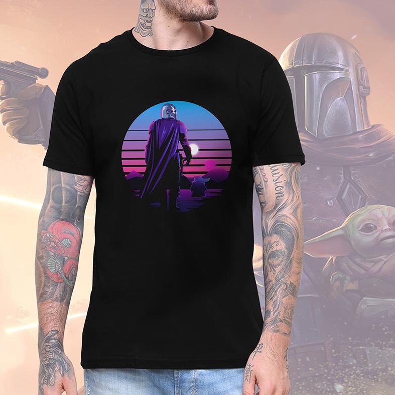 Camiseta Masculina Unissex The Mandalorian Baby Yoda Retro Star Wars (Preta) - EV