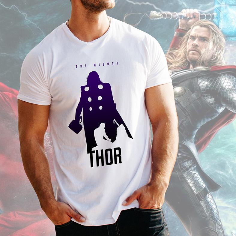 Camiseta Masculina Unissex The Mighty Thor O Poderoso Marvel (Branca) - EV