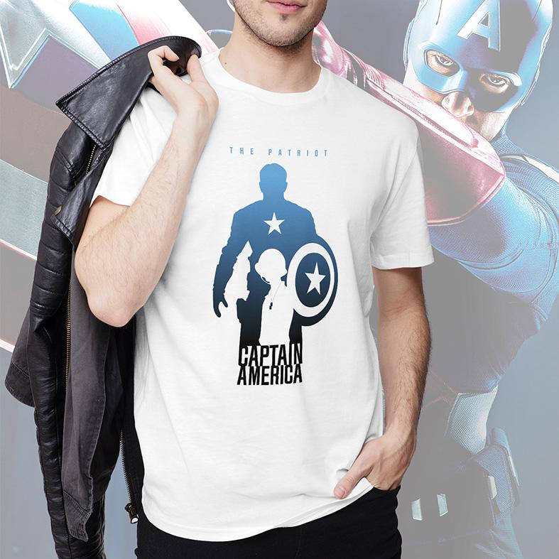Camiseta Masculina Unissex The Patriot Captain America Capitão America O Patriota Marvel Comics (Branca) - EV