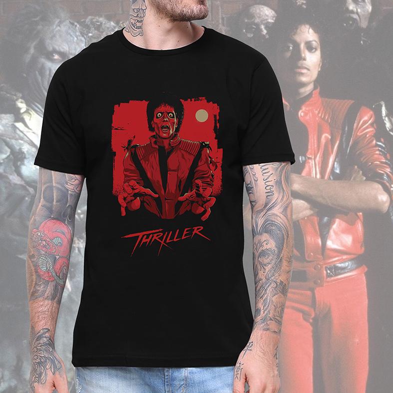 Camiseta Masculina Unissex Thriller Poster Michael Jackson (Preta) - EV