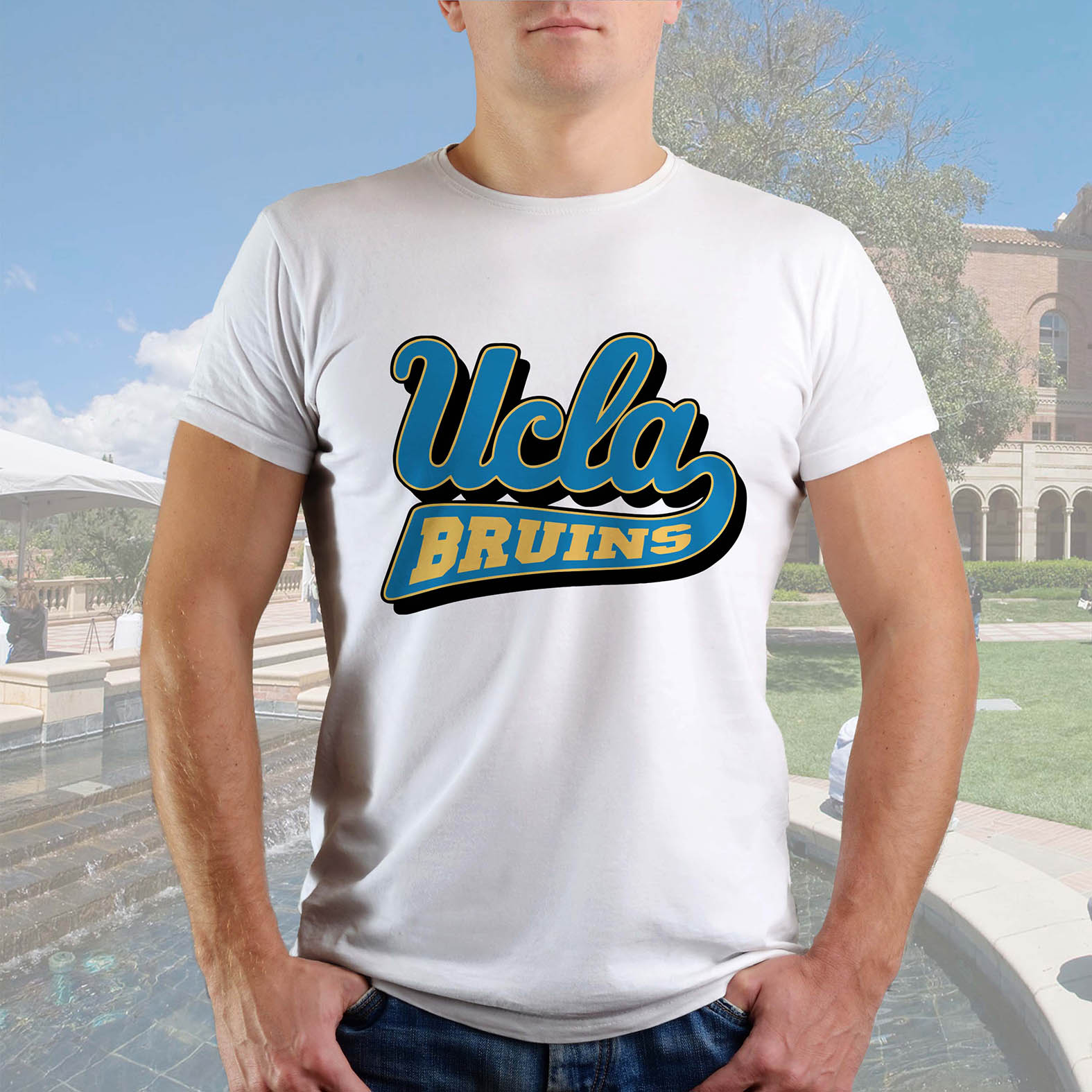 Camiseta Masculina Unissex Ucla Bruins Universidade da Califórnia Los Angeles Equipe Atlética University (Branca) - EV