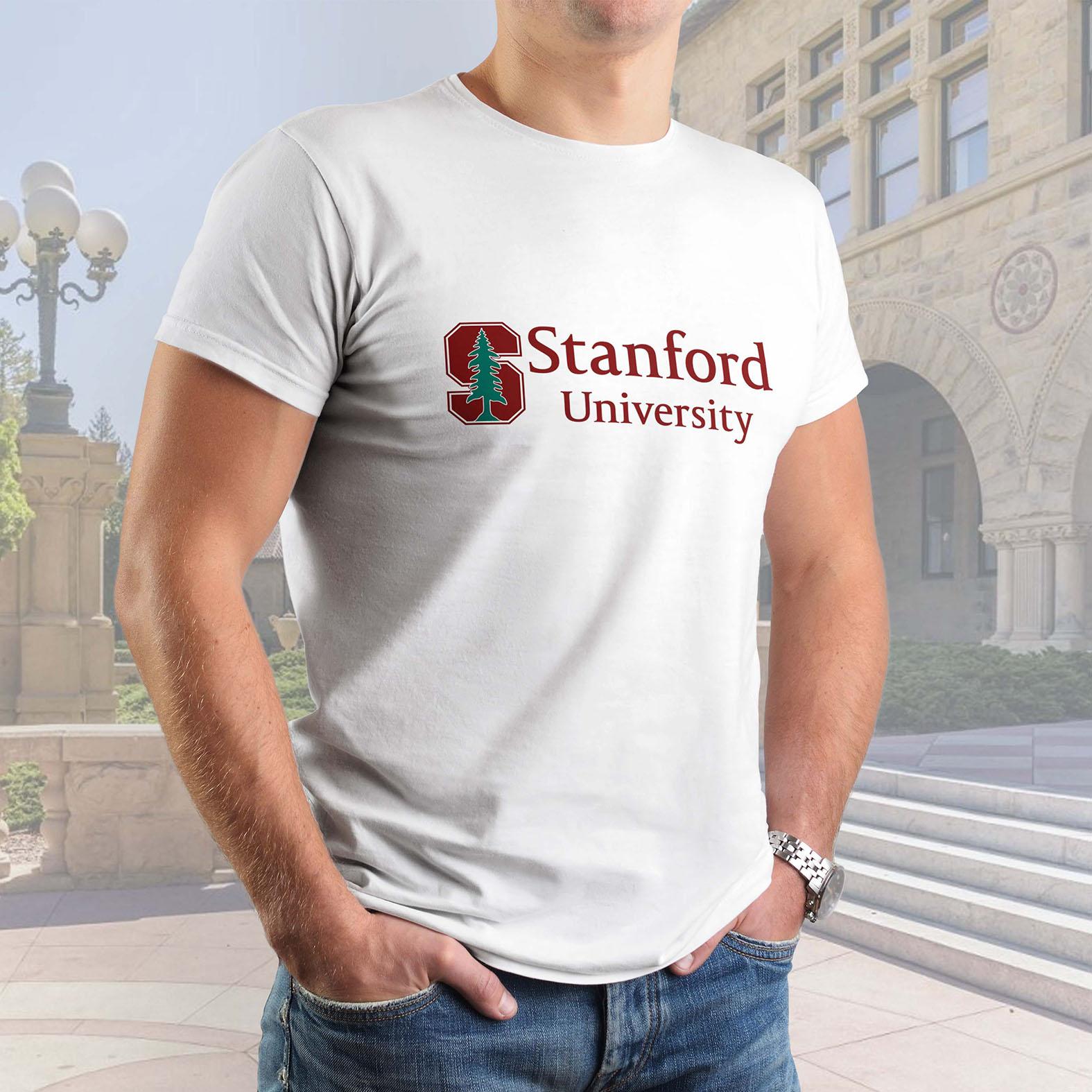 Camiseta Masculina Unissex Universidade Stanford Palo Alto Califórnia Estados Unidos University (Branca) - EV