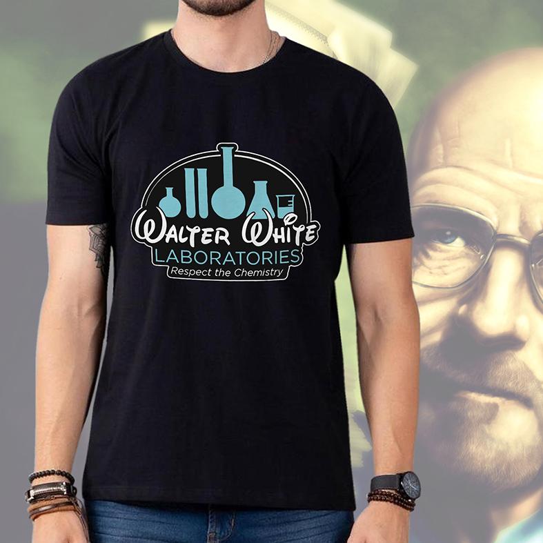 Camiseta Masculina Unissex Walter White Laboratories Respect The Chemistry Breaking Bad (Preta) - EV