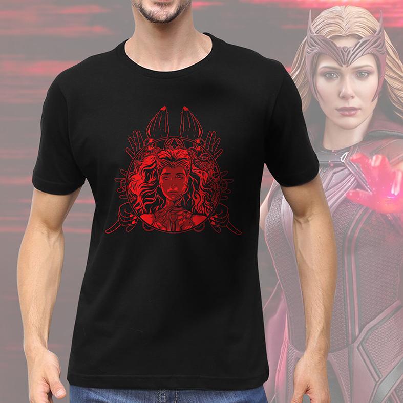 Camiseta Masculina Unissex WandaVision Scarlet Witch Marvel Disney+ (Preta) - EV
