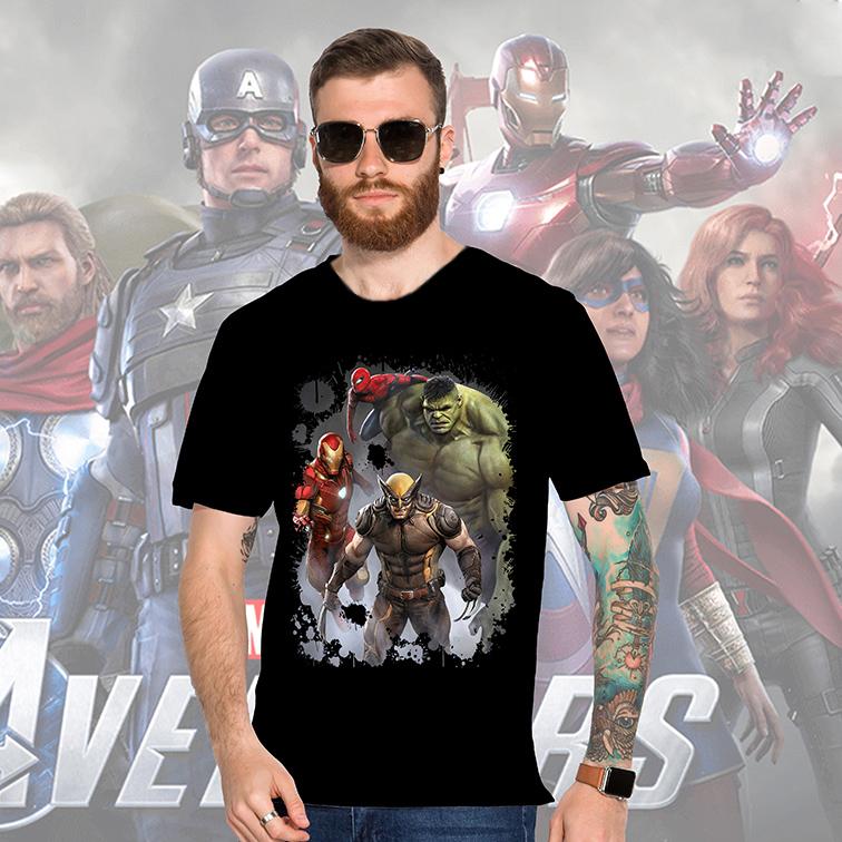 Camiseta Masculina Unissex Wolverine Iron Man Hulk & Spider-man: Marvel (Preta) - EV
