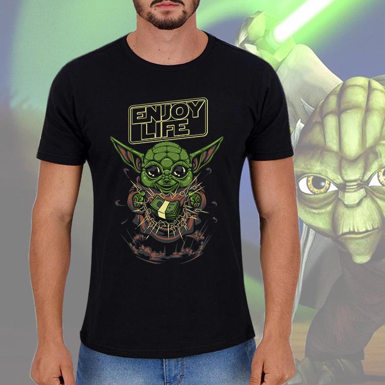 Camiseta Masculina Unissex Yoda Enjoy Life: Star Wars (Preta) - EV