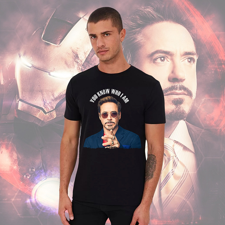 Camiseta Masculina Unissex You Know Who I Am Robert Downey Jr Tony Stark: Iron Man Homem de Ferro (Preta) - EV