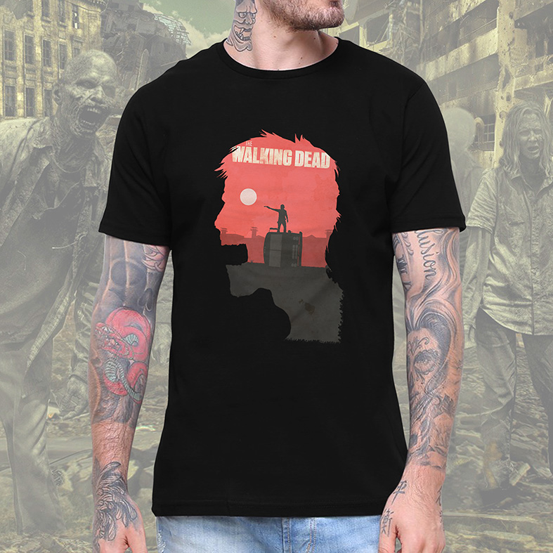 Camiseta Masculina Unissex Zombie Poster: The Walking Dead (Preta) - EV