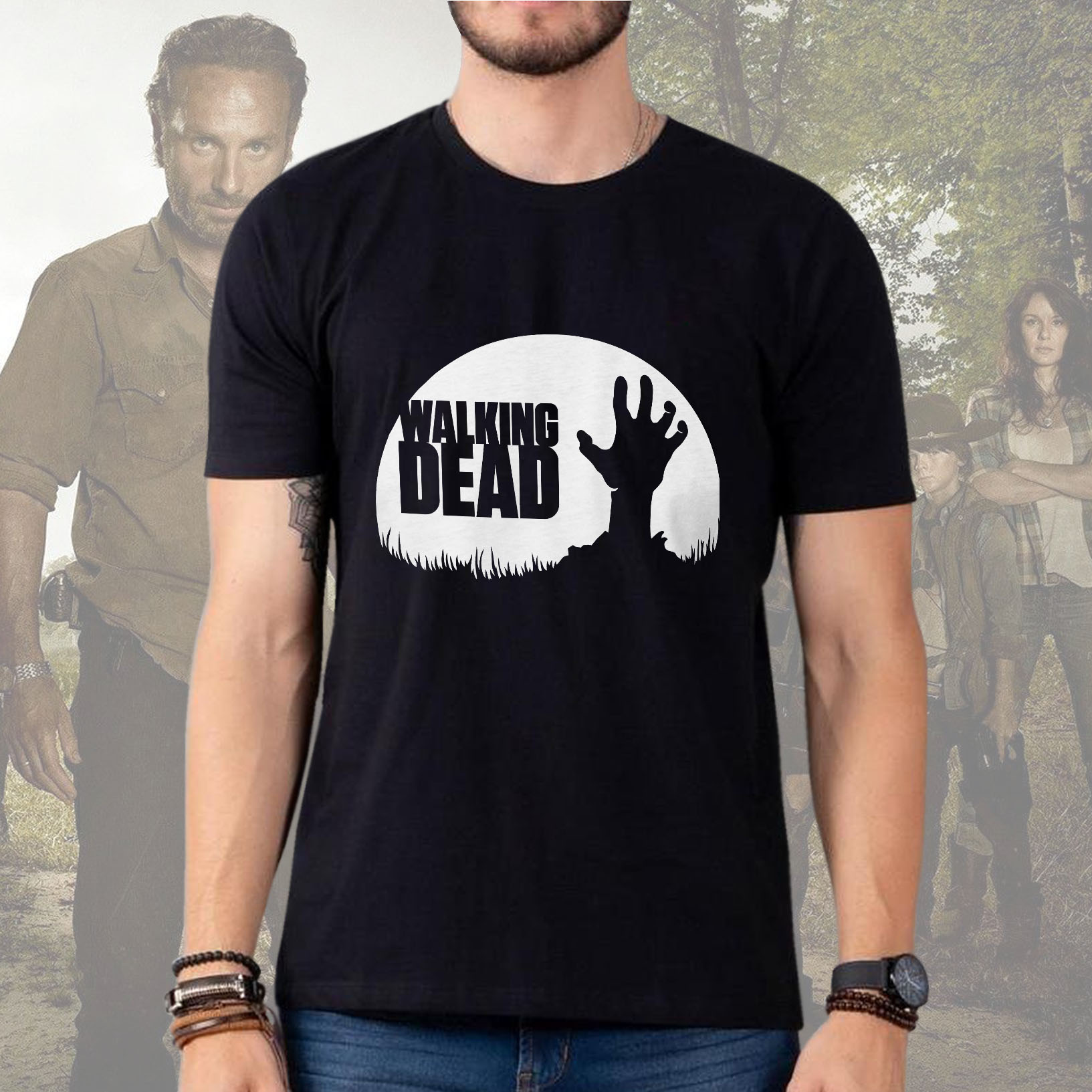 Camiseta Masculina Unissex Zombie: The Walking Dead (Preta) - EV