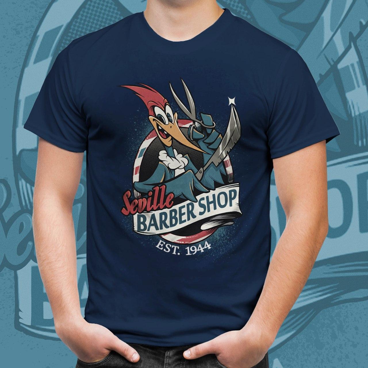 "Camiseta Pica Pau Biruta ""Seville Barber Shop"""