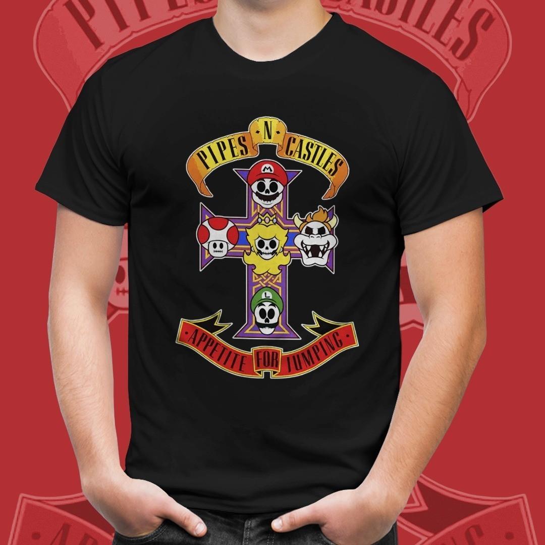 "Camiseta ""Pipes In Castles, Appetite For Jumping"": Super Mario Bros (Preto)"