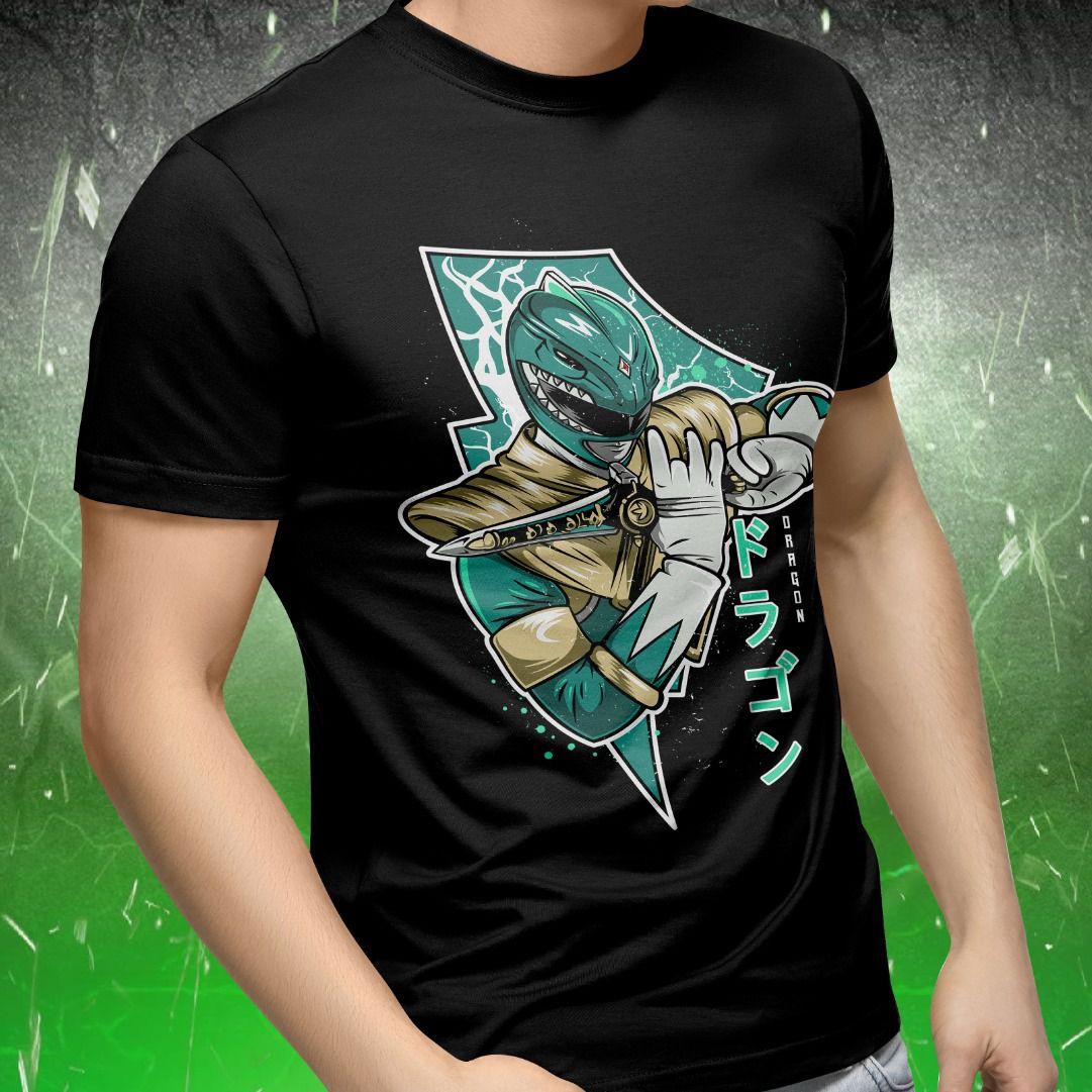 Camiseta Power Rangers: Dragão Verde (Preto)