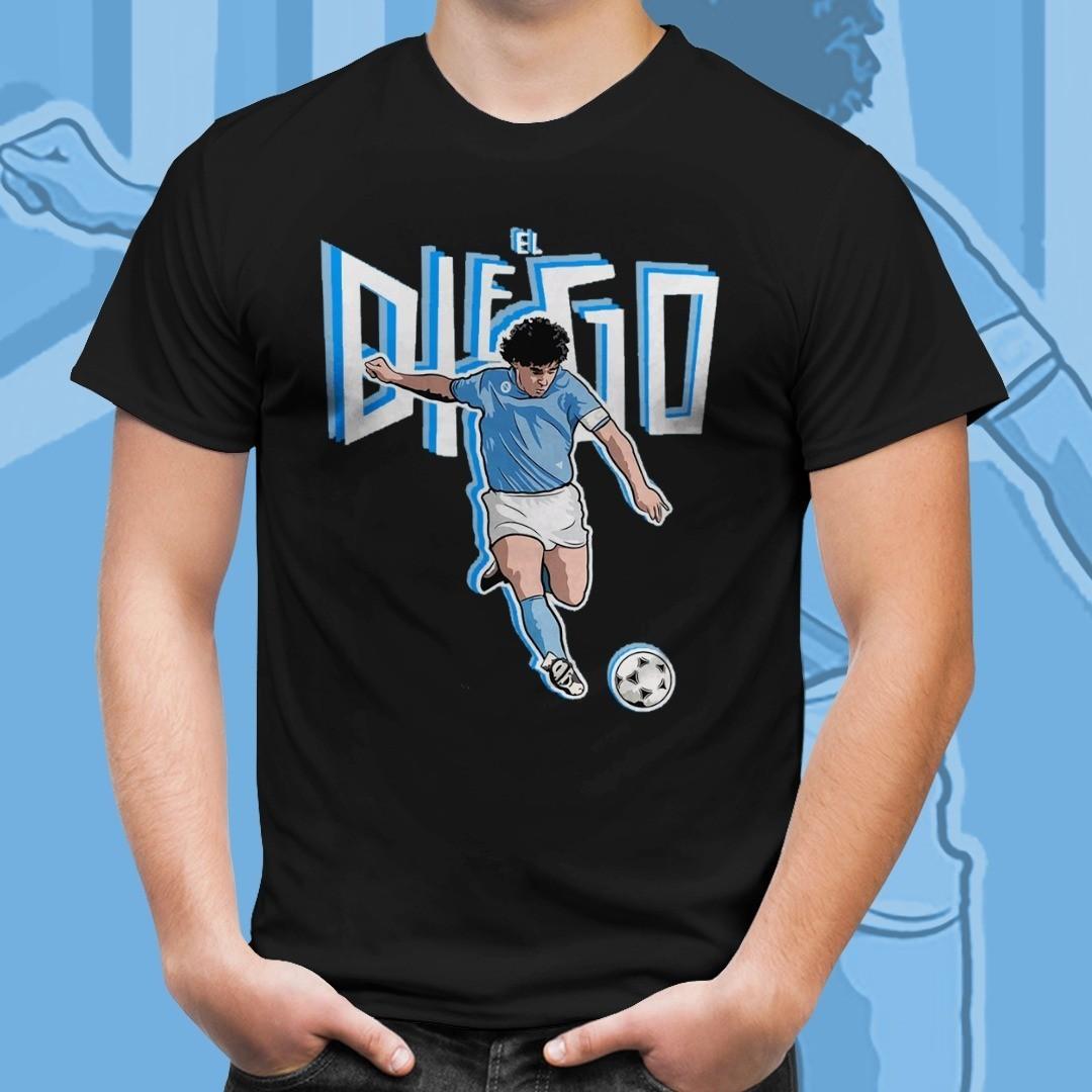 Camiseta Preta Unissex Maradona El Diego