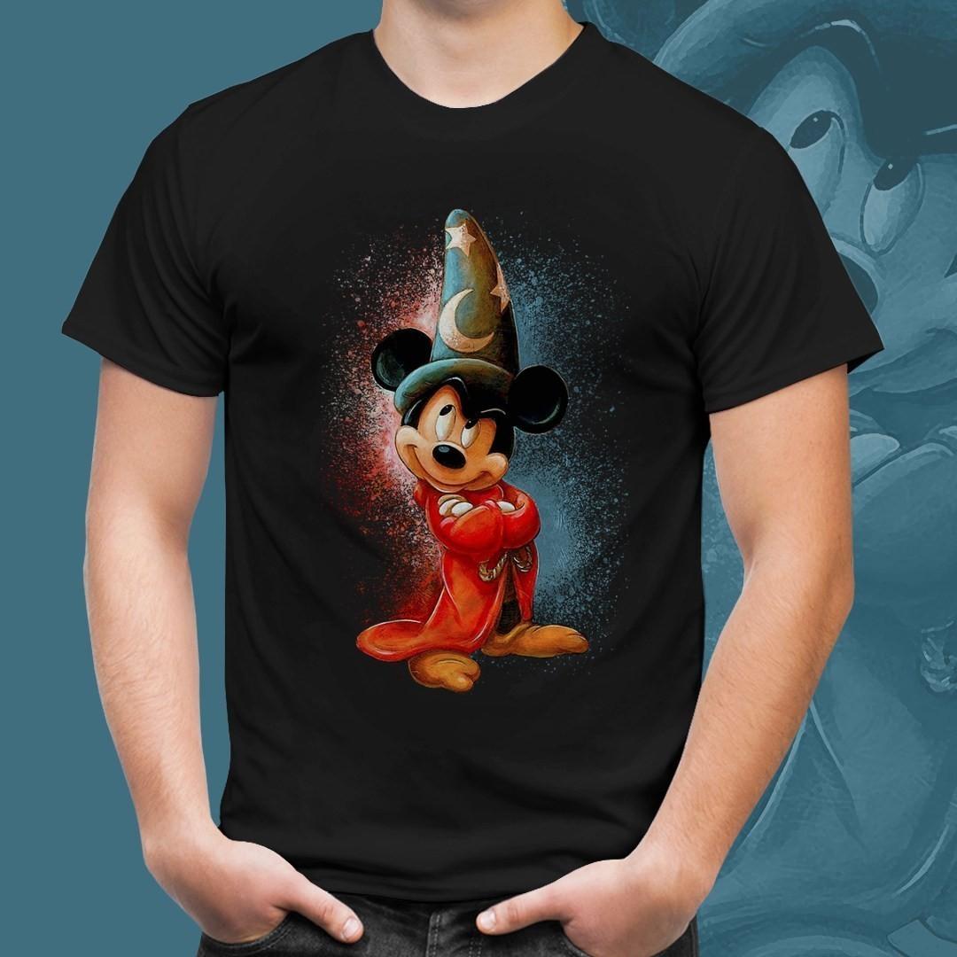 Camiseta Preta Unissex Mickey Mago