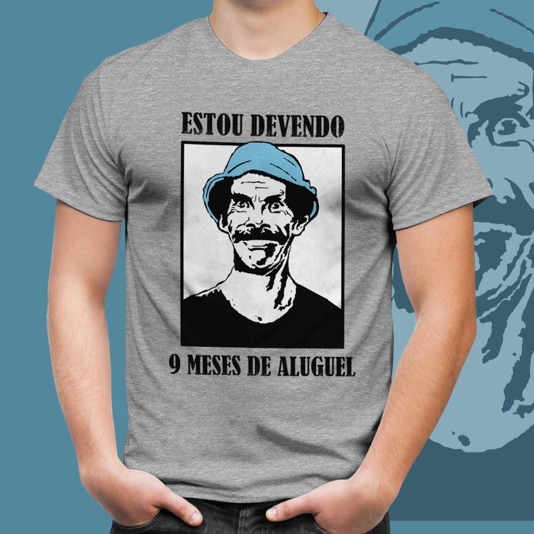 """Camiseta Seu Madruga: """"Estou Devendo 9 Meses De Aluguel"""" Chaves (Cinza)"""