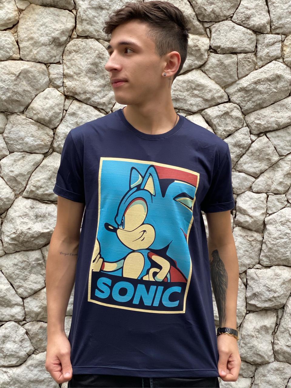 Camiseta Sonic (Azul Marinho)