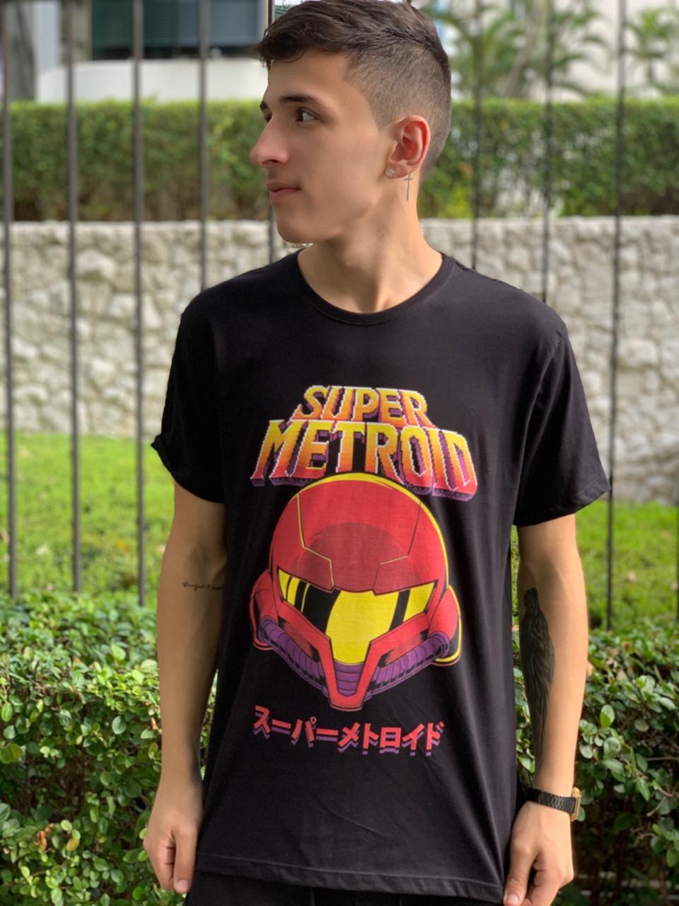 Camiseta Super Metroid PretoTamanho: G