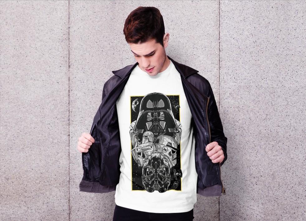 Camiseta Unissex Darth Vader e os Troopers Império   - Star Wars (Branca) - EV