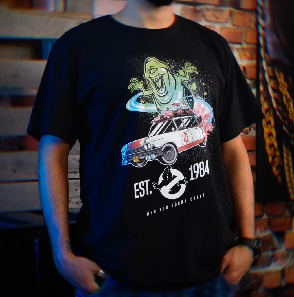 Camiseta Unissex Ecto-1 e Slimer (Geleia): Os Caça-Fantasmas (Ghostbusters)