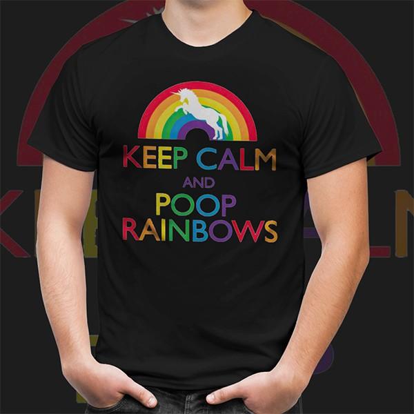 Camiseta Unissex Keep Calm and Poop Rainbows - EV