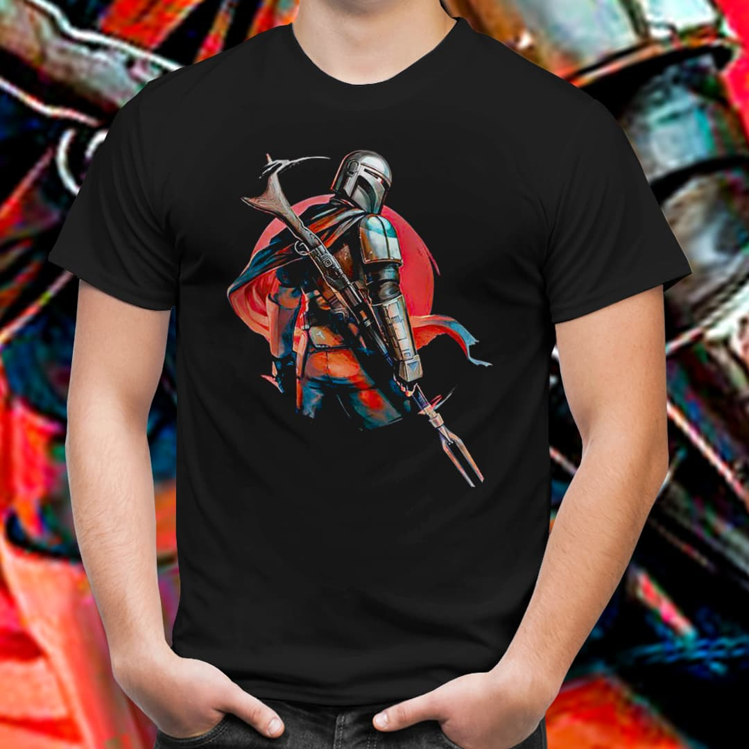Camiseta Unissex Mandalorian Guerreiro das Sombras (Preto) - EV