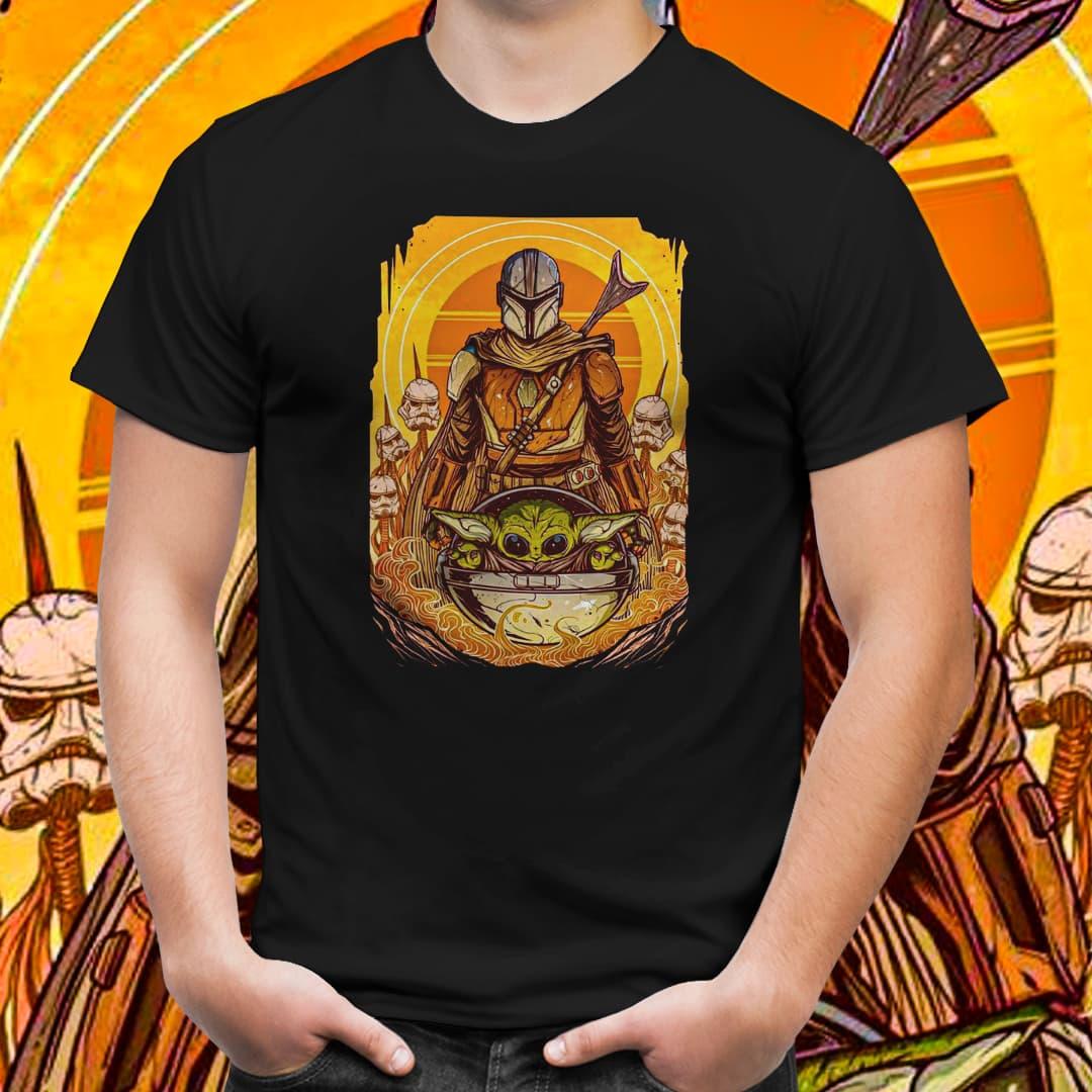 Camiseta Unissex Mandalorian x Baby Yoda: Star War (Preto) - EV