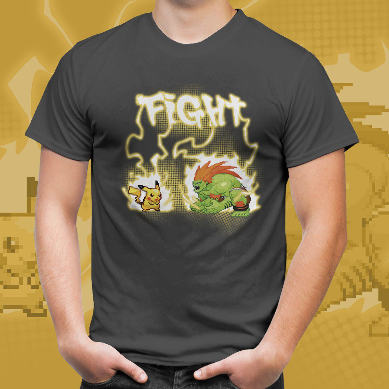 Camiseta Unissex Pikachu vs Blanka