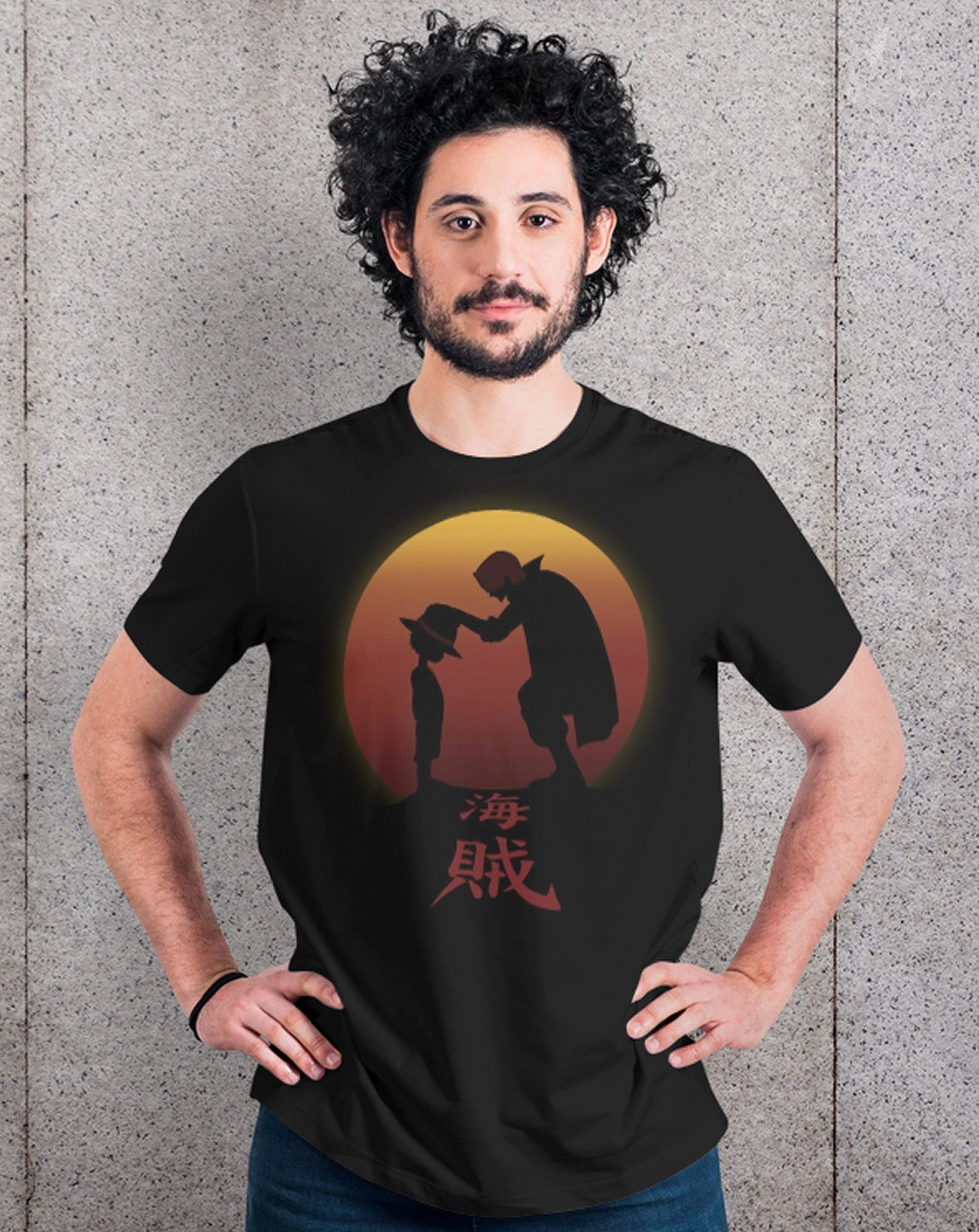 Camiseta Unissex Shanks e Luffy: One Piece (Preta) - EV - Anime Mangá