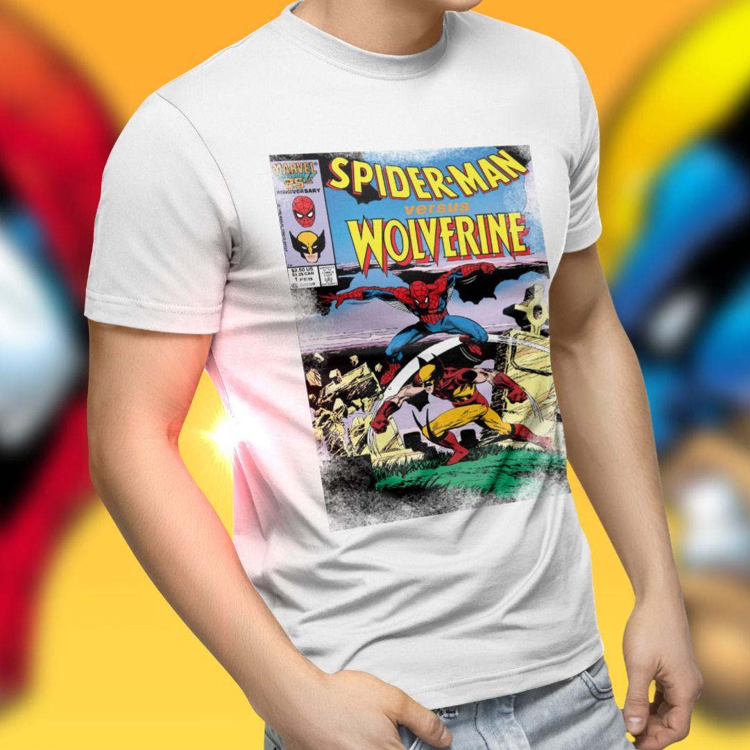 Camiseta Unissex Spider-Man Versus Wolverine: Marvel Comics